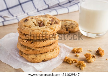 Chocolate chip cookie with almond and milk glass