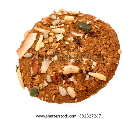 chocolate chip cookie with nut isolated on white