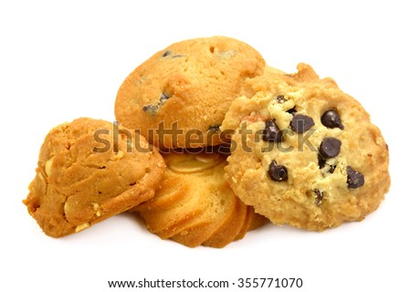 chocolate chip cookies and almond cookies - stock photo