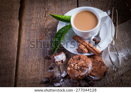 Chocolate chip cookies and coffee - stock photo
