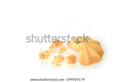 chocolate chip cookies biscuits on white background - stock photo