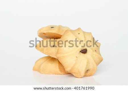 chocolate chip cookies biscuits on white background