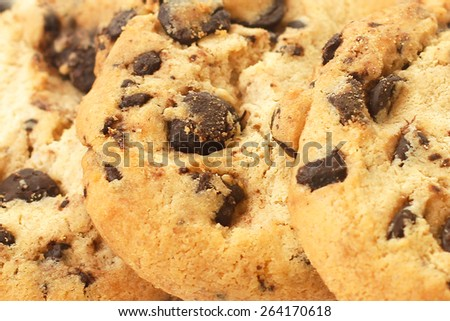 Chocolate chip cookies closeup use as background  - stock photo