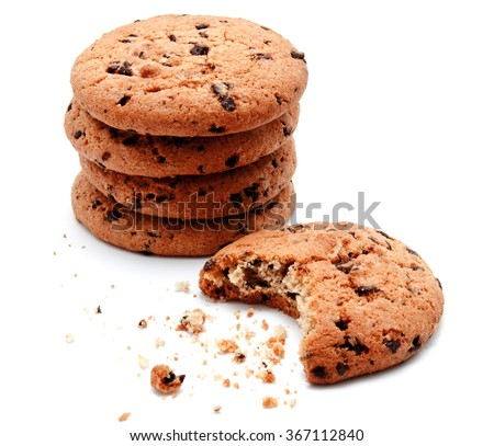 Chocolate chip cookies isolated on a white background - stock photo