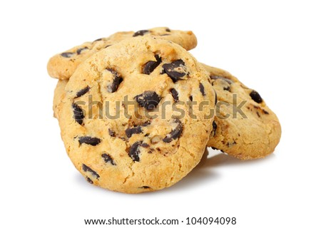 chocolate chip cookies isolated on a white background. Photo closeup - stock photo
