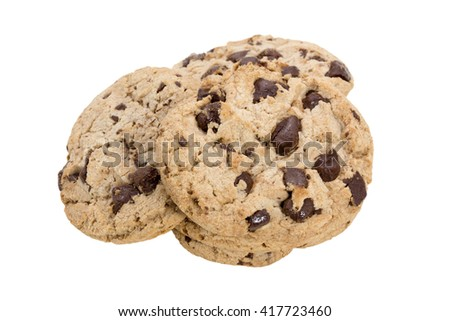 Chocolate chip cookies isolated on white background concept