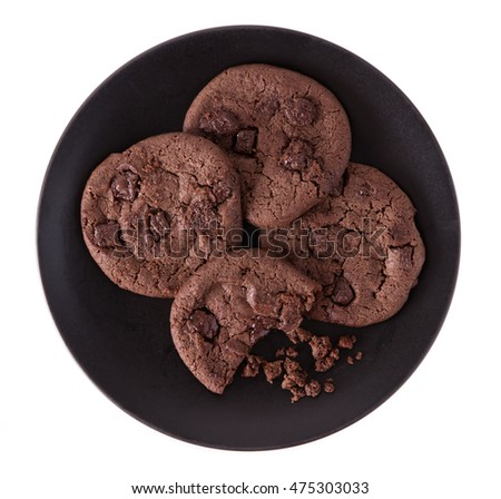 Chocolate Chip Cookies on dish isolated on white background