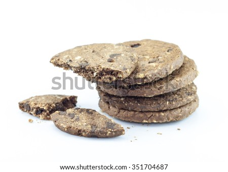 Chocolate chip cookies on white background.