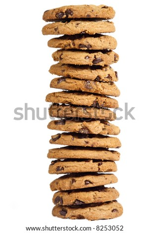 chocolate chip cookies on white background - stock photo