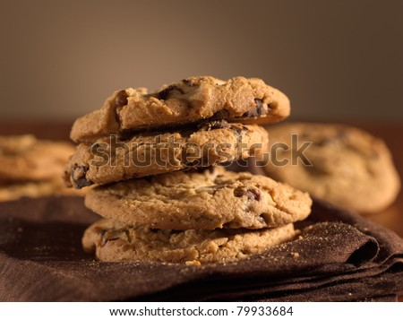 chocolate chip cookies shot with selective focus. - stock photo