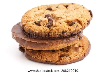 Chocolate chip cookies with half coated in chocolate. - stock photo