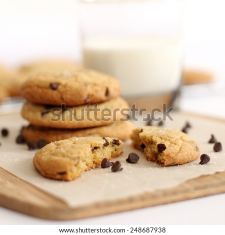 Chocolate chip cookies with milk - stock photo