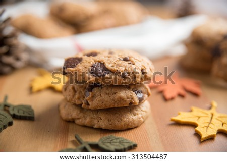 Chocolate chip cookies with Warm Fall Colours