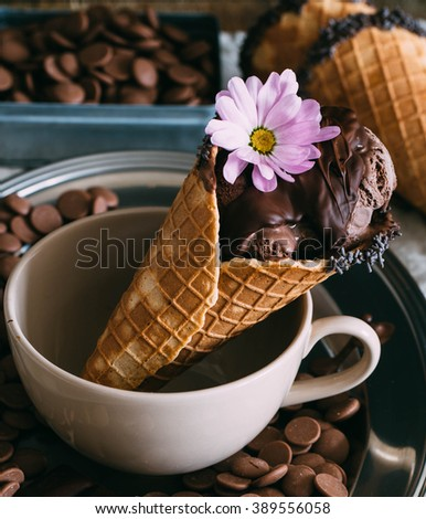 Chocolate chip ice cream with vintage feel - stock photo