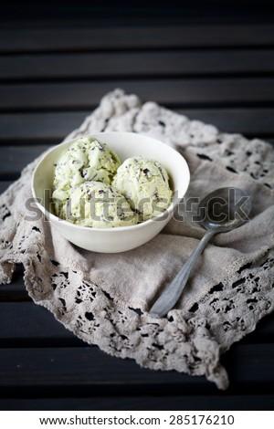 Chocolate chip mint ice cream - stock photo
