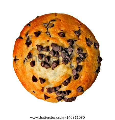 Chocolate Chip Muffin from Top View Isolated on White Background - stock photo