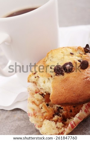chocolate chip muffin with coffee
