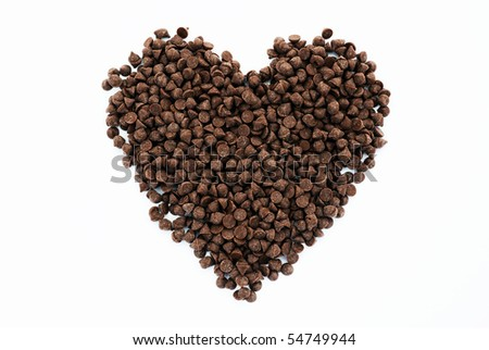 chocolate chips arranged into a heart shape and isolated on white.