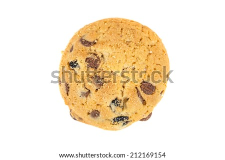 Chocolate chips cookie isolated on white background