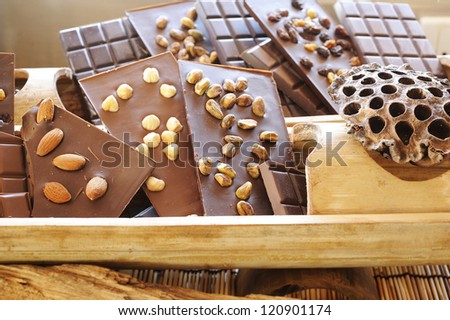 chocolate - chocolate bar - cocoa - dark chocolate - chocolate mixed nuts