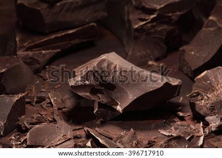 Chocolate / chocolate chunks / Chocolate bar pieces/ dark chocolate  background - stock photo