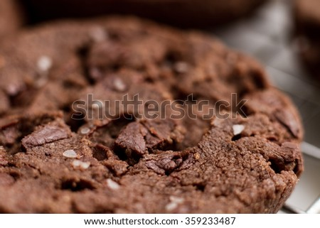 Chocolate chocolate cookie with kosher salt sprinkled on top sitting on a metal rack at an angle macro