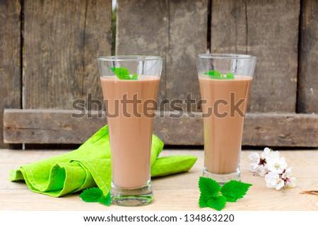 Chocolate cocktail. Selective focus - stock photo