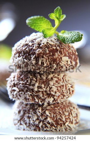Chocolate coconut confections  - stock photo