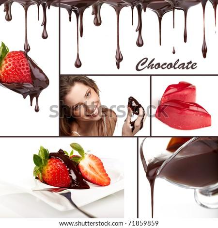 chocolate colage - stock photo