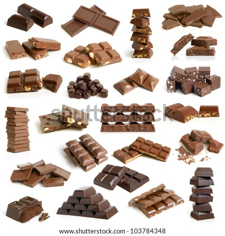 Chocolate collection on a white background - stock photo