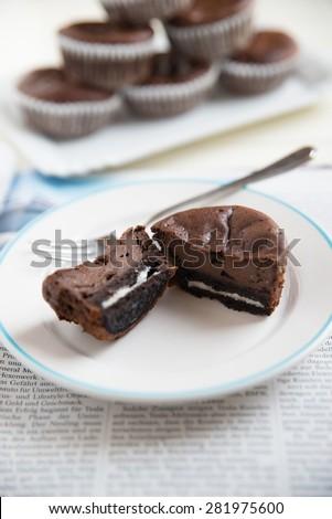 Chocolate Cookie and Cream Cupcake - stock photo