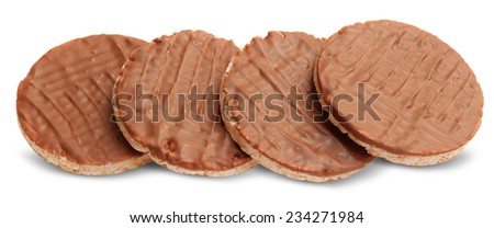 chocolate cookie isolated on white background - stock photo
