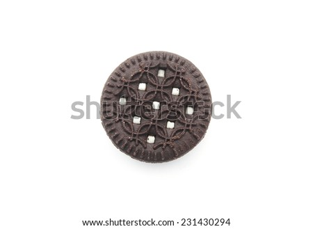 Chocolate cookie with creme filing isolated on white background - stock photo