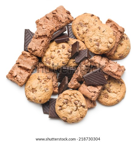 chocolate cookies and brownies on white background - stock photo