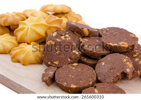Chocolate cookies and Butter cookies , breakfast - stock photo