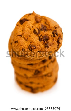 Chocolate cookies isolated on the white - shallow DOF - stock photo