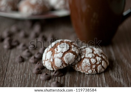 Chocolate cookies on a brown background - stock photo