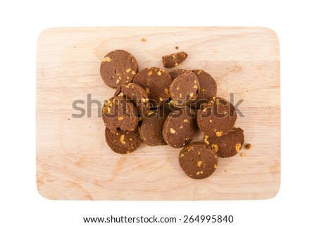 Chocolate cookies on disc isolated on white background , breakfast - stock photo