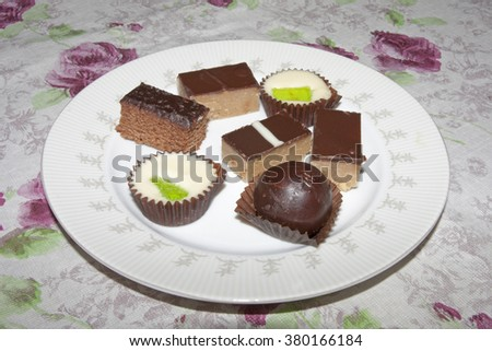 Chocolate cookies on light background - stock photo