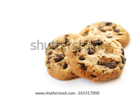 Chocolate cookies on white background  - stock photo