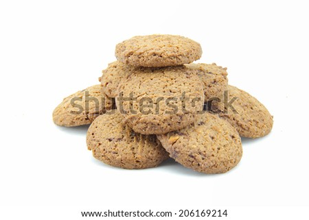 Chocolate cookies with a mixture of chocolate chips is the homemade pastry with delicious. on white background - stock photo