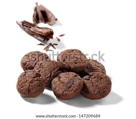 chocolate cookies with chocolate chips - stock photo