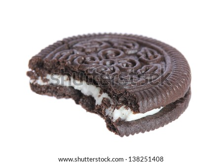 chocolate cookies with creme filing isolated on white background - stock photo