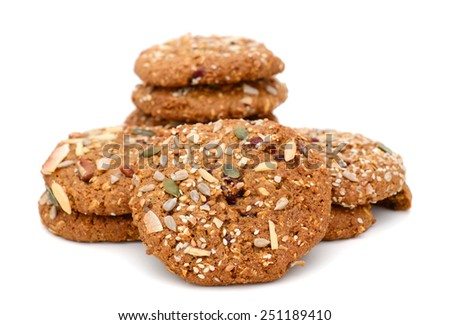 chocolate cookies with nut isolated on white - stock photo