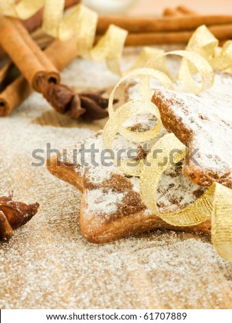 Chocolate cookies with powdered sugar, cinnamon and anise. Shallow dof. - stock photo