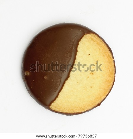 Chocolate covered biscuit - isolated on white - stock photo