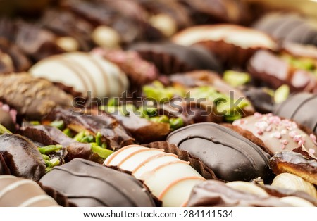 Chocolate Covered Dates - stock photo