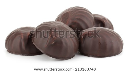 Chocolate covered marshmallows isolated on white background