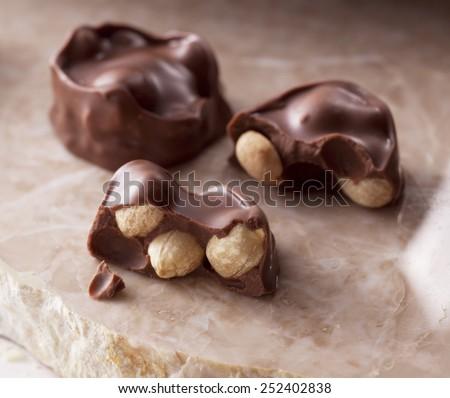 Chocolate covered peanuts - stock photo
