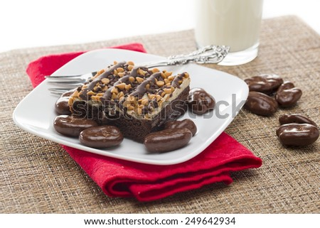 Chocolate covered pecans and chocolate peanut butter brownie served with milk - stock photo